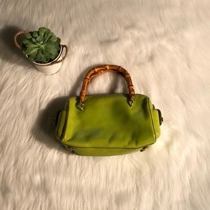 Monsac green purse with bamboo handles